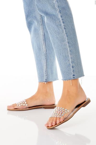Silver Embellished Flat Mule Sandals